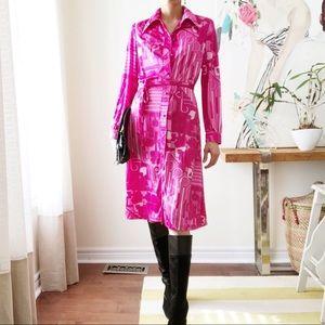 Vintage Ports pink pattern point collar shirtdress